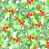 Pattern with watercolor branches with the red berries and green leaves (holly tree) Stock Photo