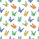 Pattern with watercolor butterfly illustrations Stock Photos