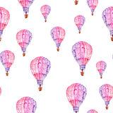 Pattern with watercolor flying mauve (pink and violet) balloons Stock Photos