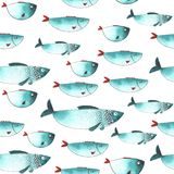 Pattern with Watercolor funny fishes Stock Photography