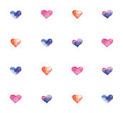 Pattern with watercolor hearts. Cute pattern with watercolor hearts. Set of watercolor valentines. Vector illustration Royalty Free Stock Image