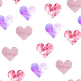 Pattern of watercolor hearts of different colors and textures. Background for packaging. Postcards, flyers and invitations to a holiday Valentine Royalty Free Illustration