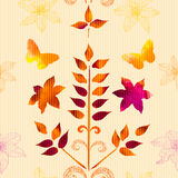 Pattern with watercolor leaves, flowers Royalty Free Stock Photo