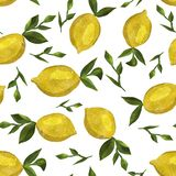 Pattern with watercolor lemons royalty free stock photo