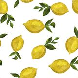 Pattern with watercolor lemons stock image