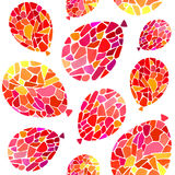 Pattern with watercolor mosaic red balloons. Vector seamless pattern with watercolor mosaic red balloons - Illustration vector illustration