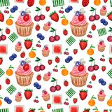 Pattern of Watercolor painted collection of fruits and berries and cupcake.Hand drawn fresh food design elements isolated on white vector illustration