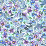 Pattern with watercolor pansies Royalty Free Stock Image
