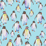 Pattern with watercolor penguins Royalty Free Stock Photo