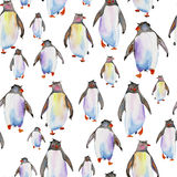 Pattern with watercolor penguins Stock Photography