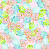 Pattern with watercolor pink flowers and blue leaves Royalty Free Stock Image