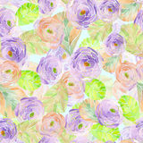 Pattern with watercolor purple flowers and leaves Stock Photos