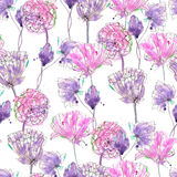 Pattern with watercolor purple flowers Royalty Free Stock Images