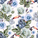 Pattern with watercolor realistic rose and iris and toucan bird. Stock Images