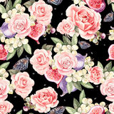 Pattern with watercolor realistic roses, butterflies and figs. Stock Photography