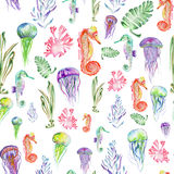 Pattern with watercolor seahorses, jellyfish and seaweed (algae). Seamless pattern with multicolored seahorses, jellyfish and seaweed (algae) painted in vector illustration