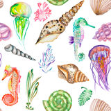 A pattern with the watercolor seahorses, jellyfish, shells and seaweed (algae) Royalty Free Stock Images