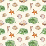 Pattern with watercolor shell, sea star and palm tree Stock Images