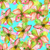 Pattern with watercolor tender pink and green flowers with blots Stock Image