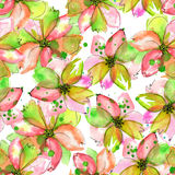 Pattern with watercolor tender pink and green flowers with blots Stock Images