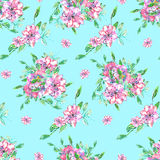 Pattern with watercolor tender pink and purple flowers and green leaves with blots Royalty Free Stock Photography