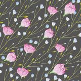 Pattern of watercolor thin twigs with blue and pink flowers on a gray background. vector illustration