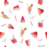 Pattern with watermelon and  cocktails with the words Fresh on a white background. stock photo