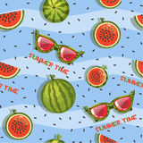 Pattern of watermelon, slices and glasses, Seamless background. Vector Pattern of watermelon, slices and glasses, Seamless background Royalty Free Stock Photo