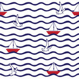 Pattern with wave, sailing boat, flying gulls. Seamless pattern with wave, sailing boat, flying gulls Stock Image