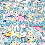 Pattern of waves and fish. Seamless pattern of waves and fish on a colored background Royalty Free Stock Photography