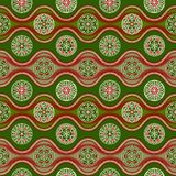 Pattern with waves and snowflakes, green Stock Images