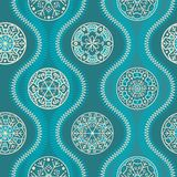Pattern with waves and snowflakes, turquoise Stock Photo