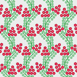 Pattern with wavy branches, red small flowers Stock Photos