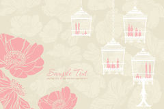 Pattern for wedding with birdcage Royalty Free Stock Photography