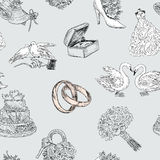 Pattern of the wedding symbols Royalty Free Stock Images