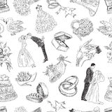 Pattern of the wedding symbols Stock Images