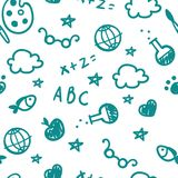 Pattern of welcome back to school with hand drawn school supplies. Back To School Background. Vector. Stock Images