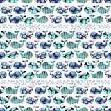 Pattern with whales. Pattern with whale silhouettes and floral motif royalty free illustration