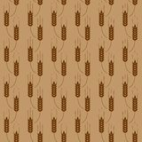 Pattern with wheat. Vector seamless brown pattern with wheat ears Royalty Free Stock Image