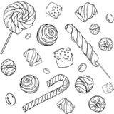 Pattern_white Candys Стоковое Изображение