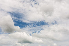 Pattern of white cloud with storm and blue sky Stock Photos