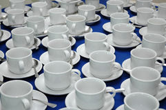 Pattern of white cup. Pattern of many white cup on the table Stock Image
