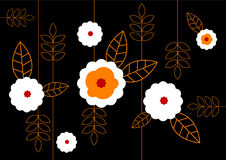 Pattern of white flowers on black background. Vector art Stock Photography
