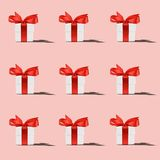 Pattern of white gift box royalty free stock photos