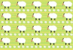 Pattern of the white sheep on green stried background. Pattern of the white sheep with black legs on green stried and white small flowers background vector illustration