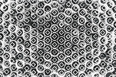 Pattern of white tubes, repeated square elements, black hexagons. And surfaces. Abstract background. 3D rendering illustration royalty free illustration
