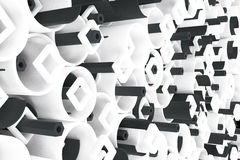 Pattern of white tubes, repeated square elements, black hexagons. And surfaces. Abstract background. 3D rendering illustration stock illustration