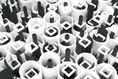 Pattern of white tubes, repeated square elements, black hexagons Royalty Free Stock Photography