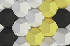 Pattern of white, yellow and black hexagonal elements Stock Images