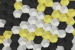 Pattern of white, yellow and black hexagonal elements Royalty Free Stock Images